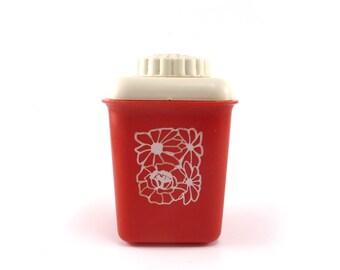 Vintage red plastic shaker, Kitchen shaker, Salt, Pepper