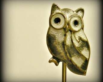 Little Grey Owl Vintage Stick Pin