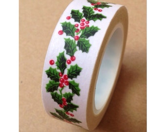 Festive Holly Leaves Washi Tape 15mm WT531