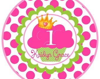 Polka Dot Cupcake Princess Birthday Iron on