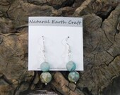 Turquoise blue natural chrysocolla earrings blue green teal unpolished semiprecious stone jewelry packaged in a colorful gift bag 2627 B