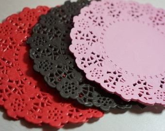 """20 Paper Lace Doilies 115mm (4.5"""") Black/Pink/Red *favours *wedding *hen's night"""