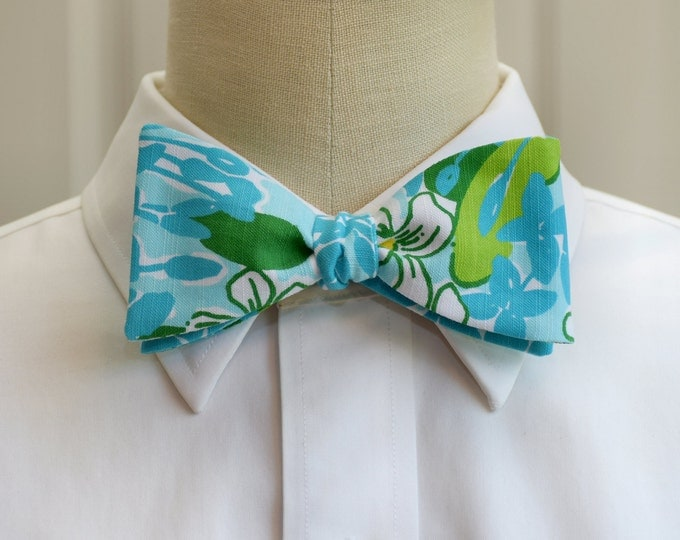 Men's Bow Tie, Exbloomsion turquoise/aqua/green Lilly floral bow tie, wedding bow tie, groom/groomsmen bow tie, prom bow tie, tux accessory