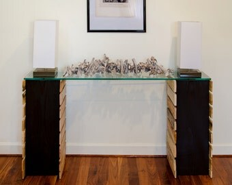 7 foot reclaimed planked console with glass top