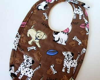 Quilted Baby Bib with Puppies and Puppy Dog Feet
