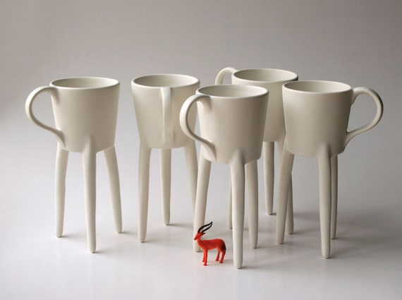 giraffe cups 2x unique coffee mugs ceramic design