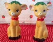 Pair of Vintage Reindeer Salt N Pepper Shakers