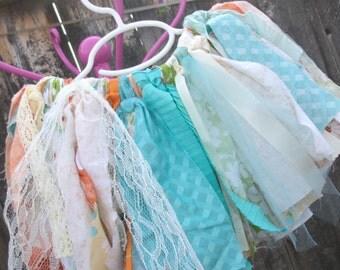"""Scrappy Tutu- Rag Skirt - Girls Scrappy Tutu - Ready to Ship 9""""- Aqua, peach, Orange and Green"""