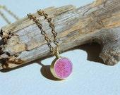Pink Druzy stone necklace