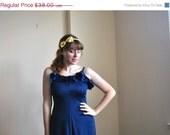 1970s Summer Dress -Navy Blue Ruffle Queen Dress - Small Blue Maxi Dress - Spring Tank Dress