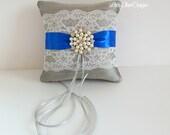 Wedding Ring Pillow - READY TO SHIP -  Platinum and Horizon Blue