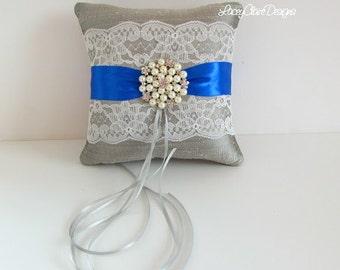 Wedding Ring Pillow - SALE -  Platinum and Horizon Blue