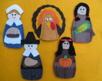 Thanksgiving Finger Puppets, 2 Pilgrims, 2 Indians, 1 Turkey