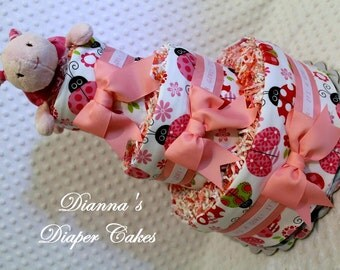 Baby Diaper Cake Pink Ladybug Shower Gift or Centerpiece