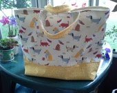 Adorable Sick Dog print, Yellow and Tan, large Tote Bag with inside pocket