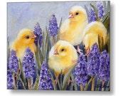 Baby Chicks Print on Wood Chicken Art Kids Animal Nursery Decor by Janet Zeh