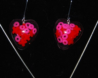 Valentines necklace and earrings set with candy sprinkles