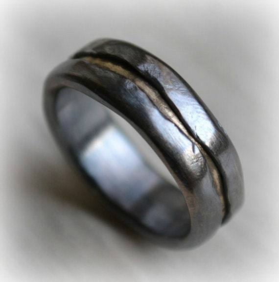 mens wedding band - rustic fine silver and brass ring - handmade oxidized artisan designed wedding or engagement band - customized