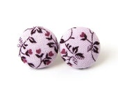 Violet stud earrings - purple button earrings - small fabric earrings pastel pink flower floral tiny