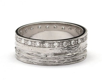 Mens Wood Grain Matte Diamond Wedding Band White Gold