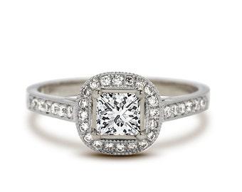 Princess Cut Diamond Engagement Ring - Princess Cut Engagement Ring - Princess Cut Halo Engagement Ring - Diamond Engagement Ring