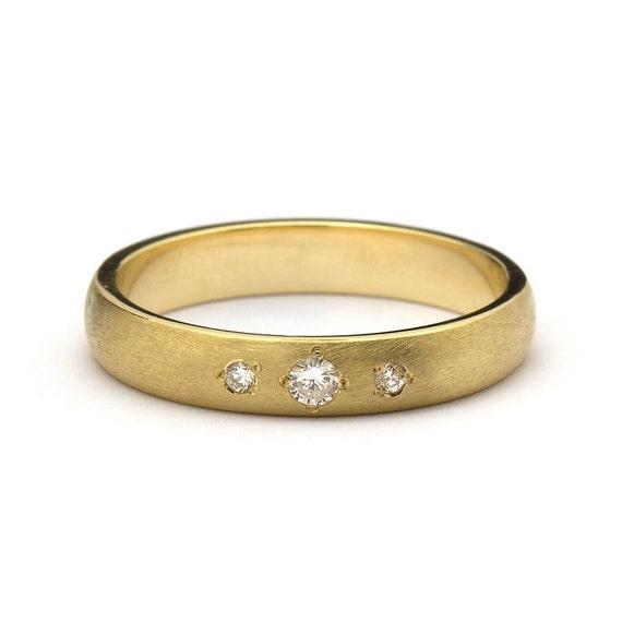 Matte Three Stone Diamonds Wedding Band In Yellow Gold