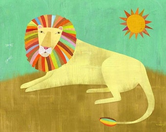 Lounging Lion, Canvas Art Print, Kids Room or Nursery Decor, Safari Theme
