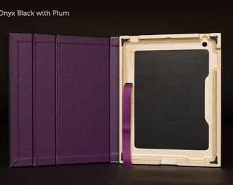 The Contega iPad Case for iPad 4/3/2 - Onyx Black with Plum Interior