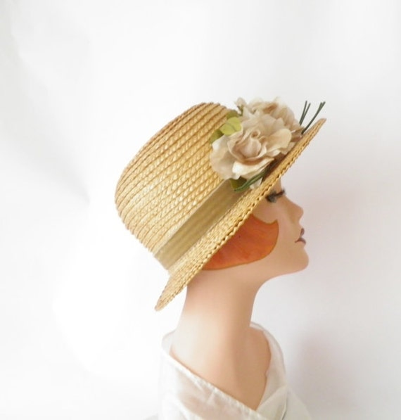 Vintage straw hat/ 1940s/ flocked roses