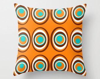 Modern  Pillow Cover, Orange & White  Pillow Cover Decorative Pillow Cover, Mod Pillow Cover, Circles, Modern Circles Pillow Cover