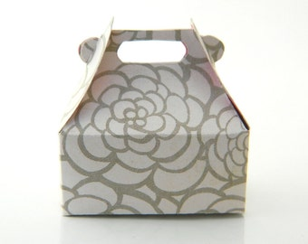 Jewelry Gift Wrap Box - Box for Rings - Gift Bag. Flower, Grey, White, Roses, Valentine's Day, Love, Wedding, Romantic, Favor, Mini Box