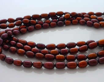 Pretty chocolate rice pearls 6-7mm 1/2 strand