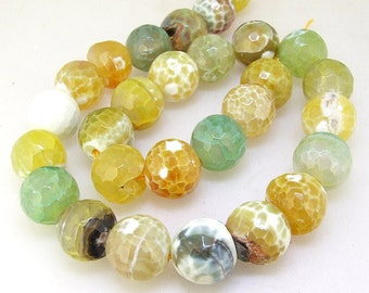"""Candy Faceted Yellow Agate 14mm Gemstone beads Loose One strand 15"""" Charm Agate Jewelry for your handwork jewelry"""