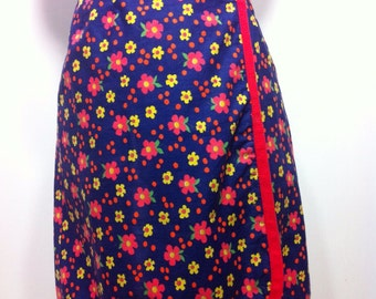 Vintage 60s Navy Blue Kitschy Floral Wrap with Red Edges Skirt XS