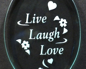 "Carved Glass ""Live Laugh Love"" Ornament"