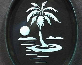 Carved Glass Palm Tree Ornament