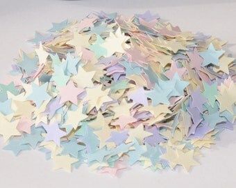 Pastel Star Confetti, 1/4 cup of Star Confetti, Table Decoration, Birthday Party Decor, 700 Star Die Cuts