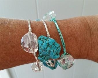 Mermaid Bangle Bracelet - Turquoise Nugget Wire Wrapped Bangle Bracelet