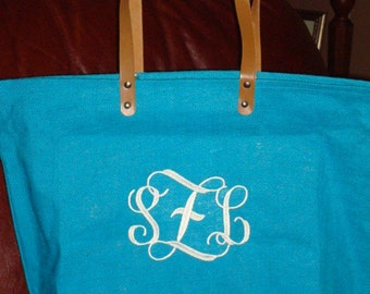 Personalized Monogrammed Jute Tote Bag