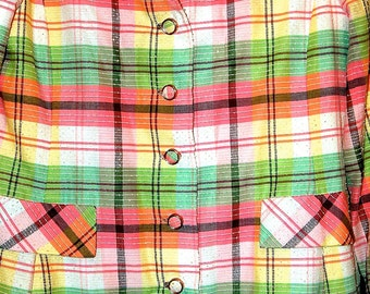 1970 Spring Plaid Dress Suit Coat and Dress size 16