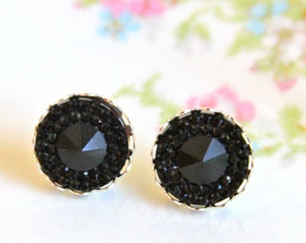 Black Rhinestone Post Earrings -  Sparkle Silver Scalloped Rhinestone Post Earrings -Wedding, Bridal, Bridesmaid
