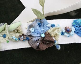 Ribbon Work Choker Ribbonwork Flowers Jeweled and Beaded Choker, Art to Wear - Blues and Brown, Bohemian Glam