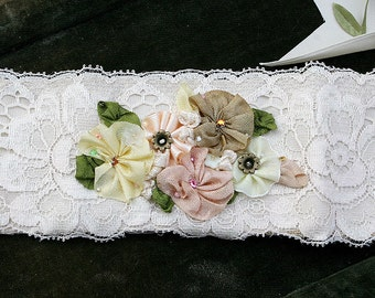 Ribbon Work Flowers Blooma and Vintage Lace Cuff - Mocha - Soft Peach - Soft Yellow - Art to Wear