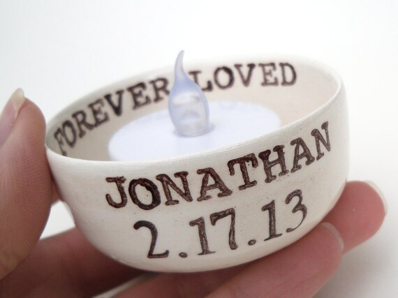Memorial gift custom candle holder personalize remembrance sympathy