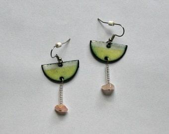 Lime Green Margarita Earrings in copper enamel