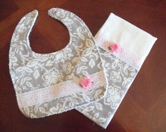 Burp Cloth & Bib Set, Gray Floral Damask, Baby Girl Bib, Baby Girl Burp Cloth Set, Baby Shower, Baby Gift, Newborn, Girl Set, Girls Bib Set