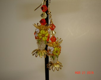 Orange Citron Yellow White Lampwork Earrings, Crystal Earrings, Glass Earrings, Flower/Floral Earrings, SRA Beads,#151