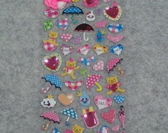 Mixed Cute Rhinestones Rain Rain Stickers