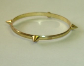 Vintage Gold Plated Applied Cone Spikes Bangle Bracelet