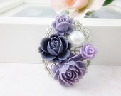 Flower Brooch.  Shades of violet flowers set on oval silver plated filigree brooch. Gift for her.